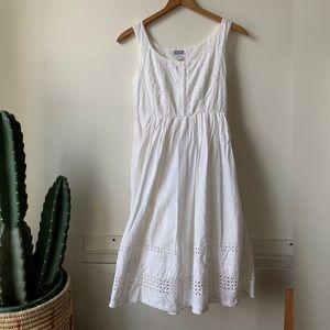 Vacation White Cotton Eyelet sun Dress Summer